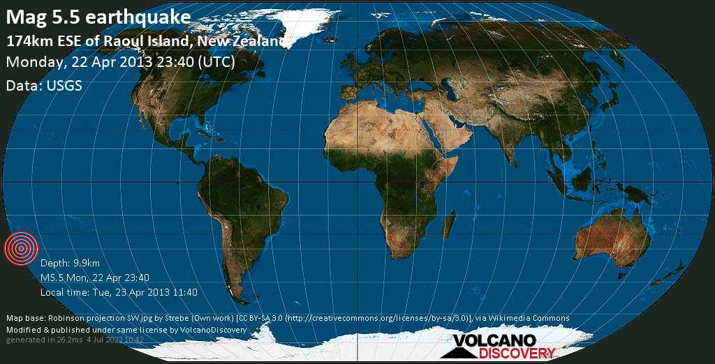 Moderate mag. 5.5 earthquake  - 174km ESE of Raoul Island, New Zealand on Monday, 22 April 2013