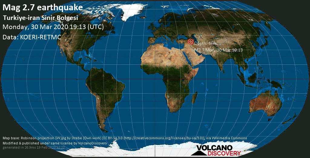 Débil terremoto magnitud 2.7 - Turkiye-iran Sinir Bolgesi lunes, 30 mar. 2020