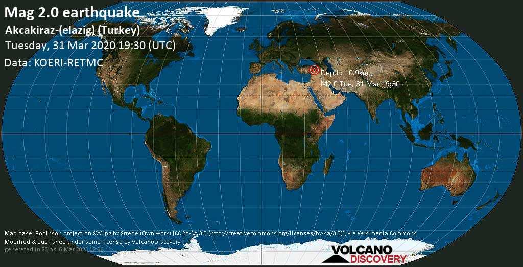 Minor mag. 2.0 earthquake  - Akcakiraz-(elazig) (Turkey) on Tuesday, 31 March 2020