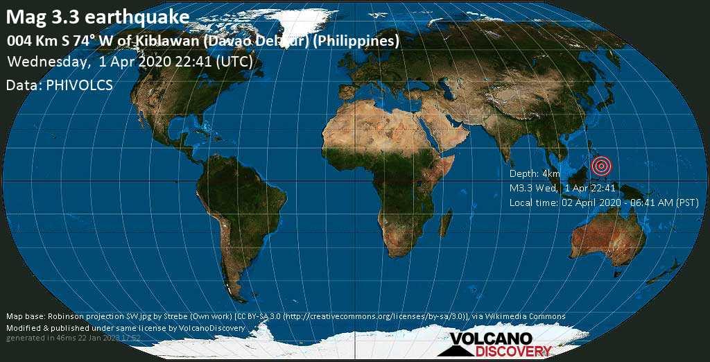 Débil terremoto magnitud 3.3 - 004 km S 74° W of Kiblawan (Davao Del Sur) (Philippines) miércoles, 01 abr. 2020