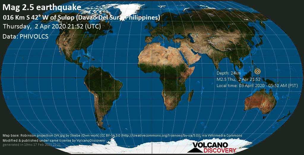 Débil terremoto magnitud 2.5 - 016 km S 42° W of Sulop (Davao Del Sur) (Philippines) jueves, 02 abr. 2020