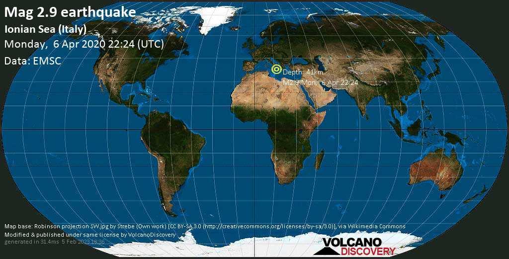 Minor mag. 2.9 earthquake  - Ionian Sea (Italy) on Monday, 6 April 2020