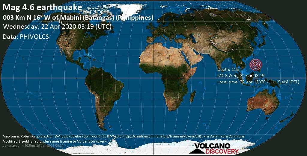 Earthquake info : M4.6 earthquake on Wednesday, 22 April 2020 03:19 UTC / 003 km N 16° W of Mabini (Batangas) (Philippines) - 6 experience reports / VolcanoDiscovery