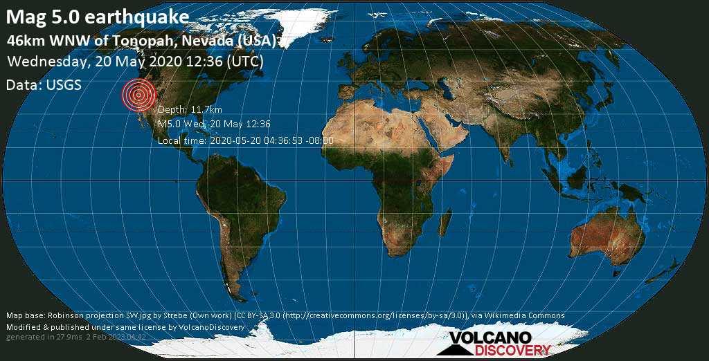 Moderate mag. 5.0 earthquake  - 46km WNW of Tonopah, Nevada (USA) on Wednesday, 20 May 2020