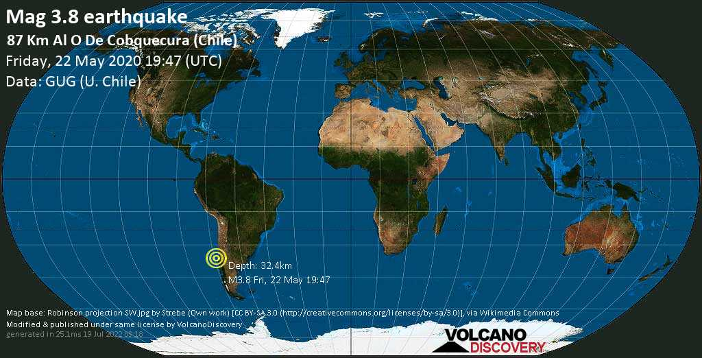 Minor mag. 3.8 earthquake  - 87 km al O de Cobquecura (Chile) on Friday, 22 May 2020