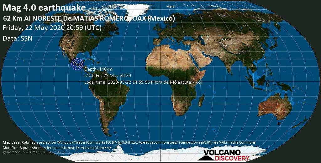 Light mag. 4.0 earthquake  - 62 km al NORESTE de  MATIAS ROMERO, OAX (Mexico) on Friday, 22 May 2020