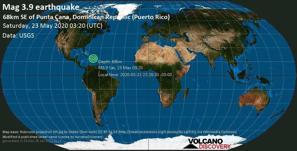 Minor mag. 3.9 earthquake  - 68km SE of Punta Cana, Dominican Republic (Puerto Rico) on Saturday, 23 May 2020