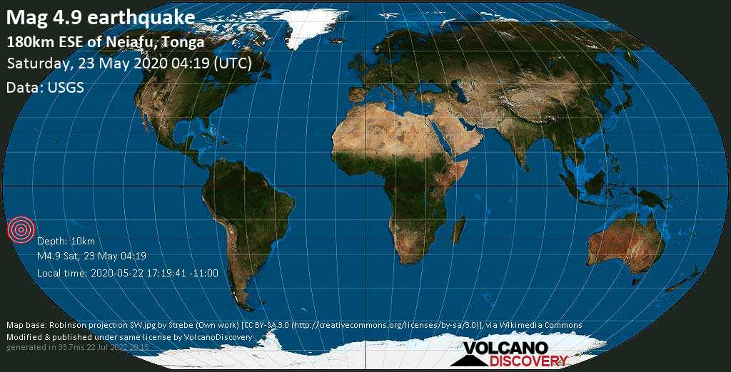 Light mag. 4.9 earthquake  - 180km ESE of Neiafu, Tonga on Saturday, 23 May 2020