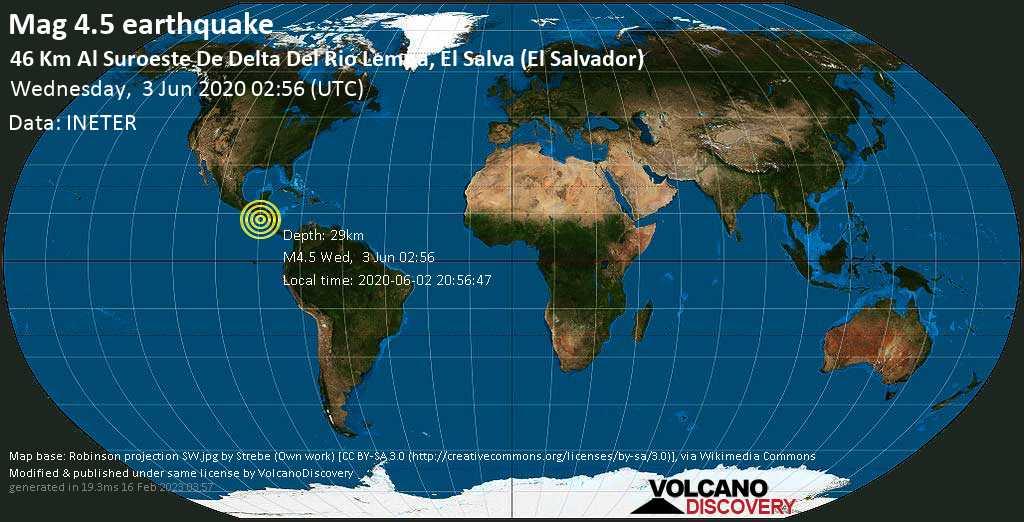 M 4.5 quake: 46 Km al suroeste de Delta del Rio Lempa, El Salva (El Salvador) on Wed, 3 Jun 02h56
