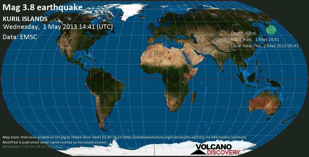 Minor mag. 3.8 earthquake  - KURIL ISLANDS on Wednesday, 1 May 2013