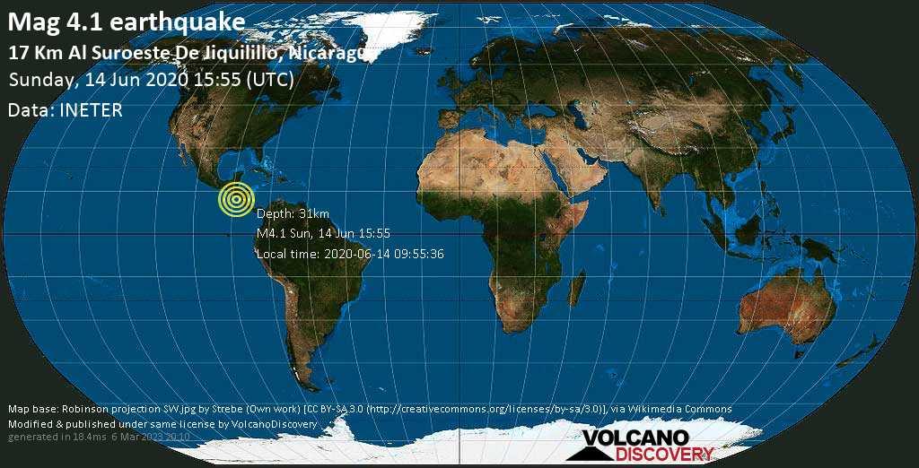 Light mag. 4.0 earthquake  - 26 Km al suroeste de Jiquilillo, Nicaragua on Sunday, 14 June 2020