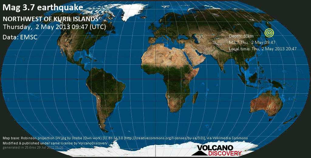 Minor mag. 3.7 earthquake  - NORTHWEST OF KURIL ISLANDS on Thursday, 2 May 2013