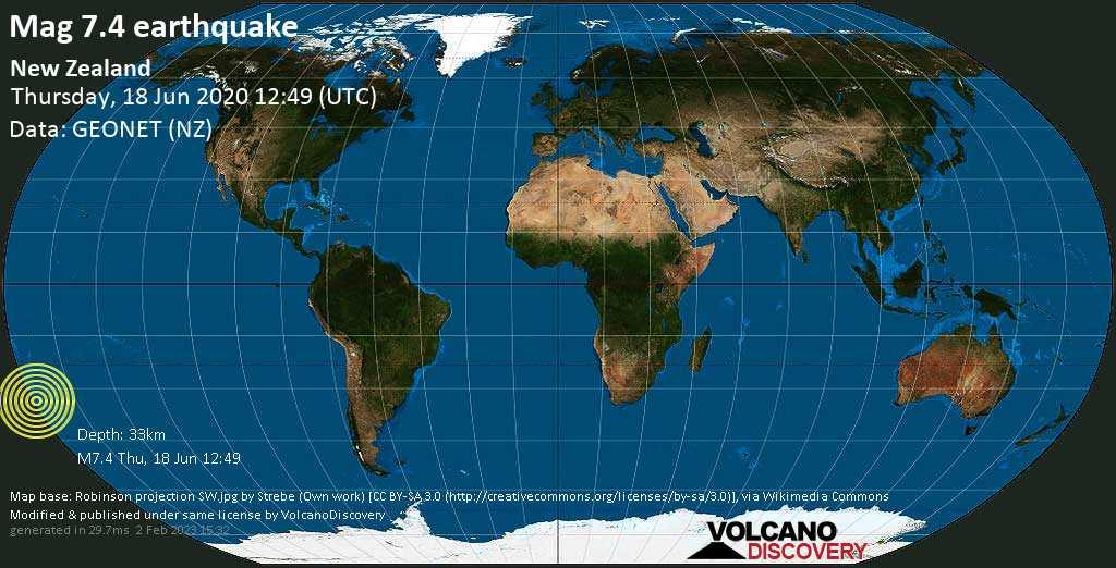 Major mag. 7.4 earthquake  - New Zealand on Thursday, 18 June 2020
