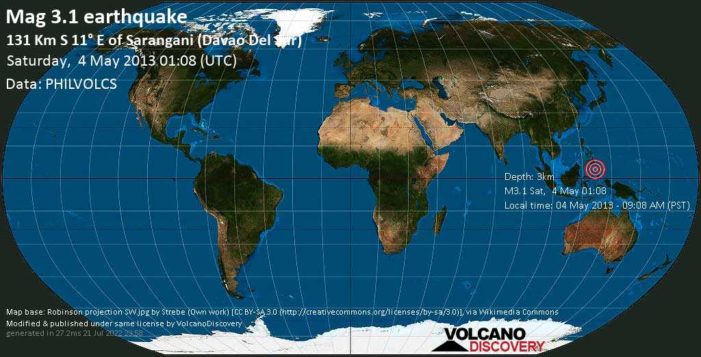 Minor mag. 3.1 earthquake  - 131 km S 11° E of Sarangani (Davao del Sur) on Saturday, 4 May 2013
