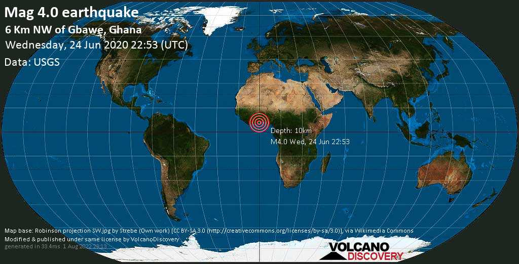 Light mag. 4.0 earthquake  - 6 km NW of Gbawe, Ghana on Wednesday, 24 June 2020