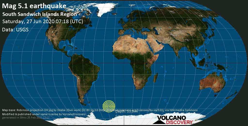 Moderate mag. 5.1 earthquake  - South Sandwich Islands region on Saturday, 27 June 2020