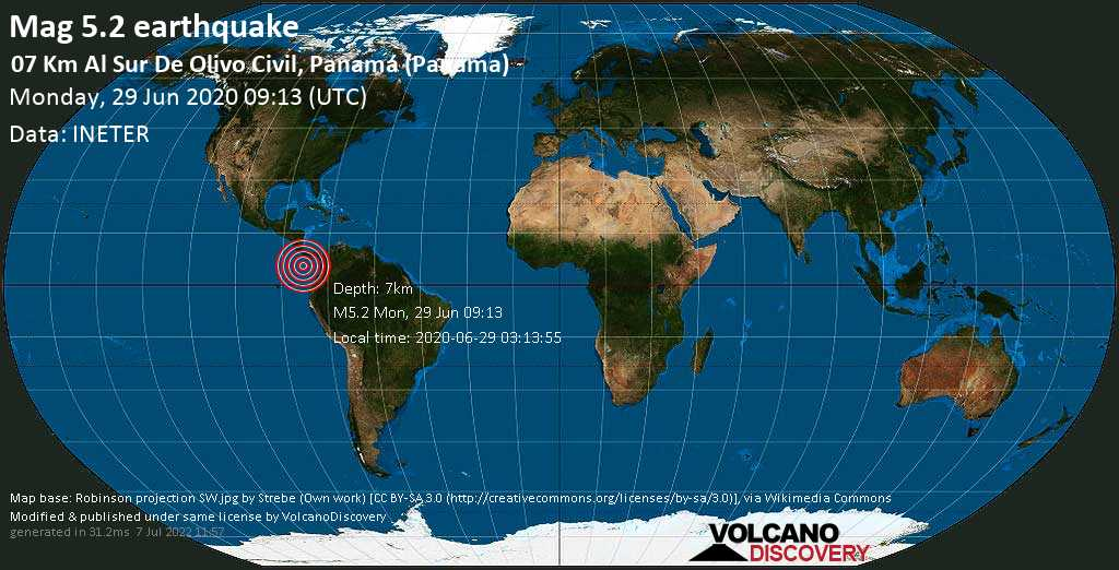 Moderado terremoto magnitud 5.2 - 07 Km al sur de Olivo Civil, Panamá (Panama) lunes, 29 jun. 2020