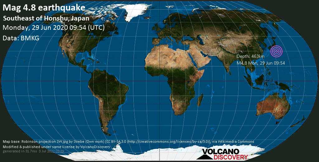 Light mag. 4.8 earthquake  - Southeast of Honshu, Japan on Monday, 29 June 2020