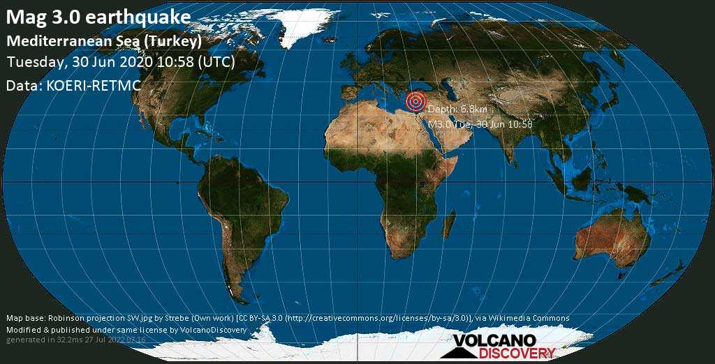 Minor mag. 3.0 earthquake  - Mediterranean Sea (Turkey) on Tuesday, 30 June 2020