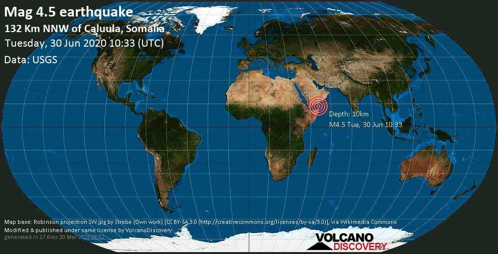 Light mag. 4.5 earthquake  - 132 km NNW of Caluula, Somalia on Tuesday, 30 June 2020