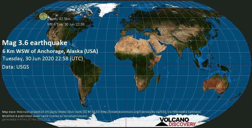 Minor mag. 3.6 earthquake  - 6 km WSW of Anchorage, Alaska (USA) on Tuesday, 30 June 2020