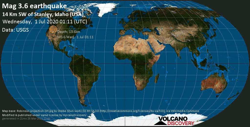 Minor mag. 3.6 earthquake  - 14 km SW of Stanley, Idaho (USA) on Wednesday, 1 July 2020