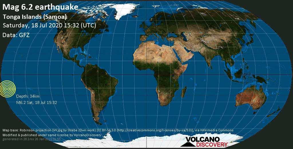 Strong mag. 6.2 earthquake  - Tonga Islands (Samoa) on Saturday, 18 July 2020