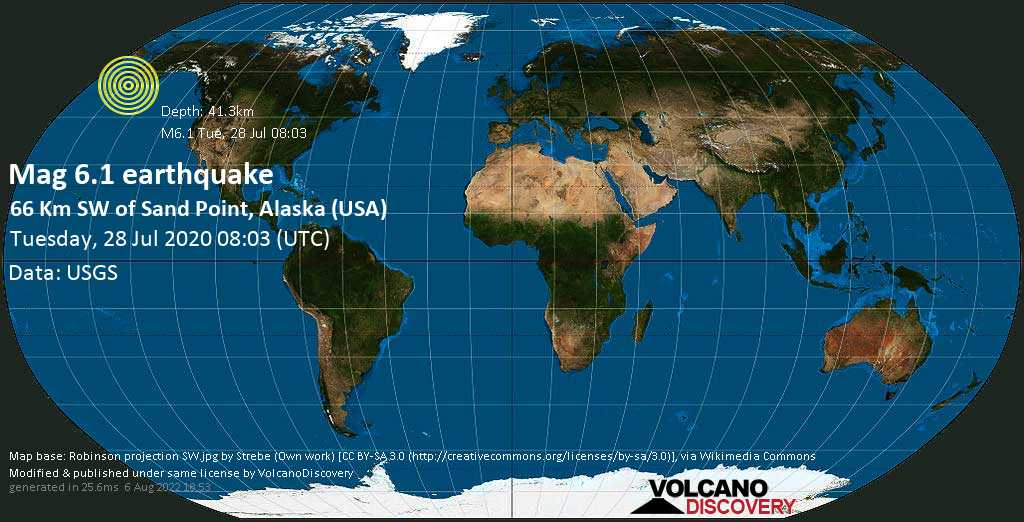 Strong mag. 6.1 earthquake  - 66 km SW of Sand Point, Alaska (USA) on Tuesday, 28 July 2020