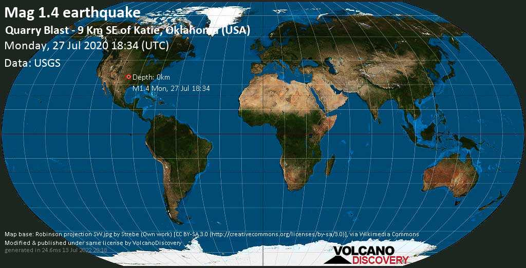 Minor mag. 1.4 earthquake  - Quarry Blast - 9 km SE of Katie, Oklahoma (USA) on Monday, 27 July 2020