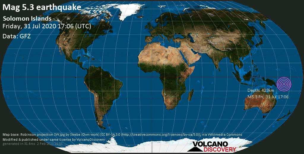 Moderato terremoto magnitudine 5.3 - Solomon Islands venerdí, 31 luglio 2020