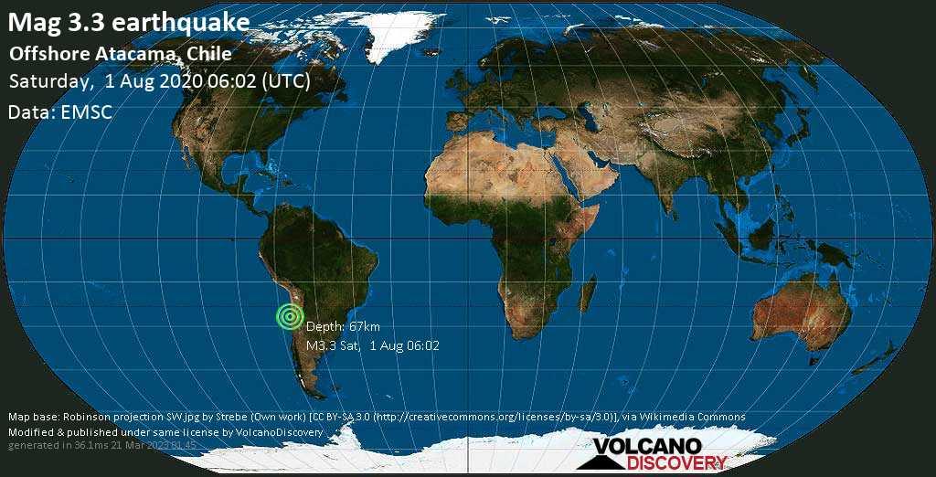 Minor mag. 3.3 earthquake  - Offshore Atacama, Chile on Saturday, 1 August 2020