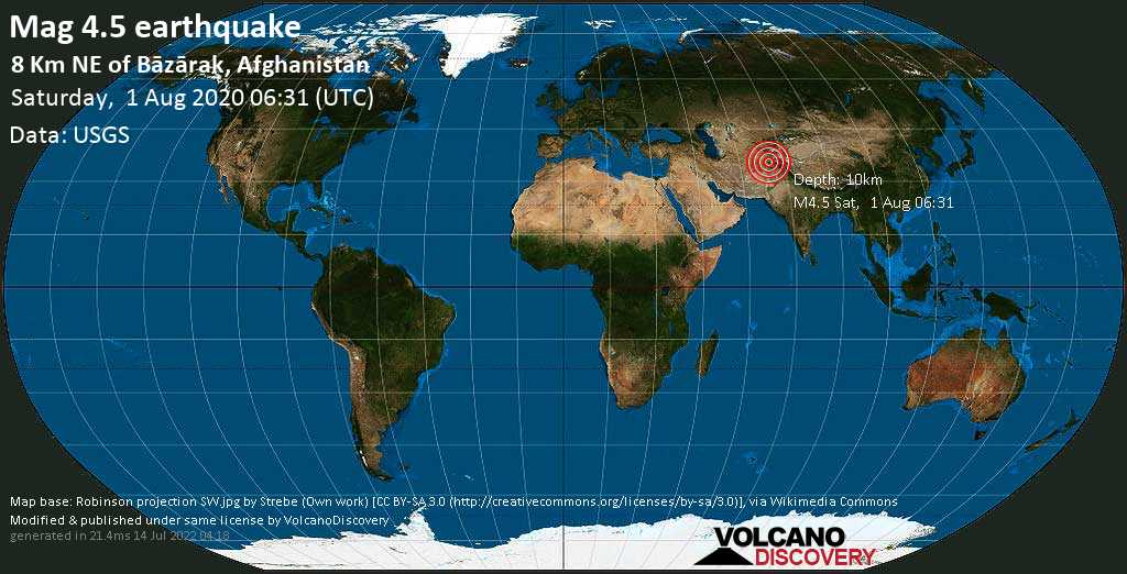 Light mag. 4.5 earthquake  - 8 km NE of Bāzārak, Afghanistan on Saturday, 1 August 2020