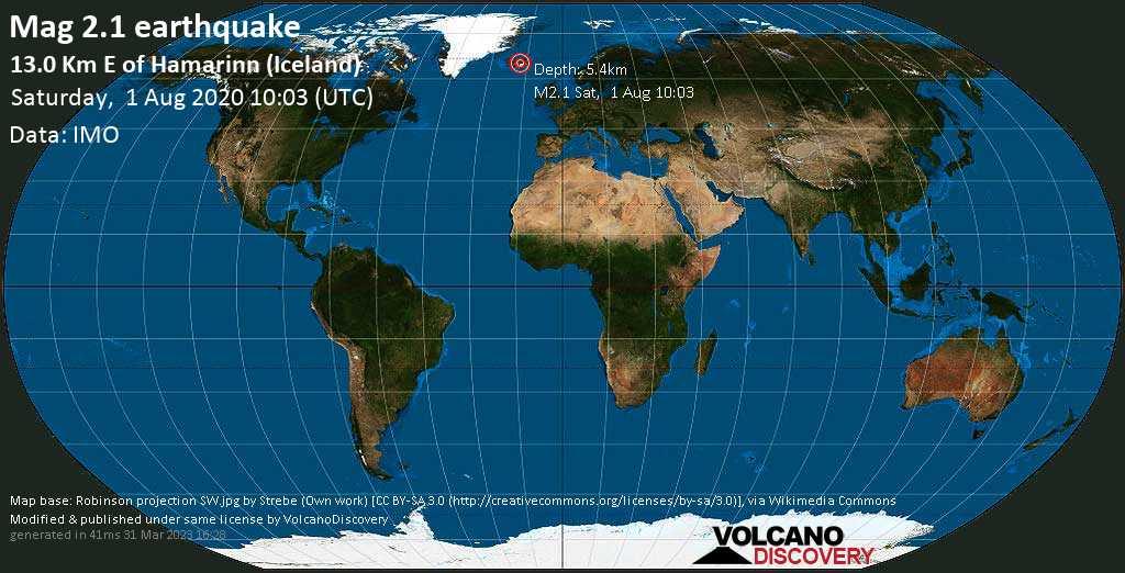 Minor mag. 2.1 earthquake  - 13.0 km E of Hamarinn (Iceland) on Saturday, 1 August 2020