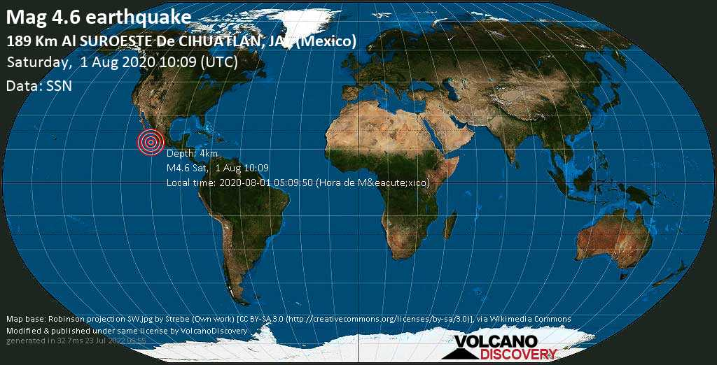 Light mag. 4.6 earthquake  - 189 km al SUROESTE de  CIHUATLAN, JAL (Mexico) on Saturday, 1 August 2020