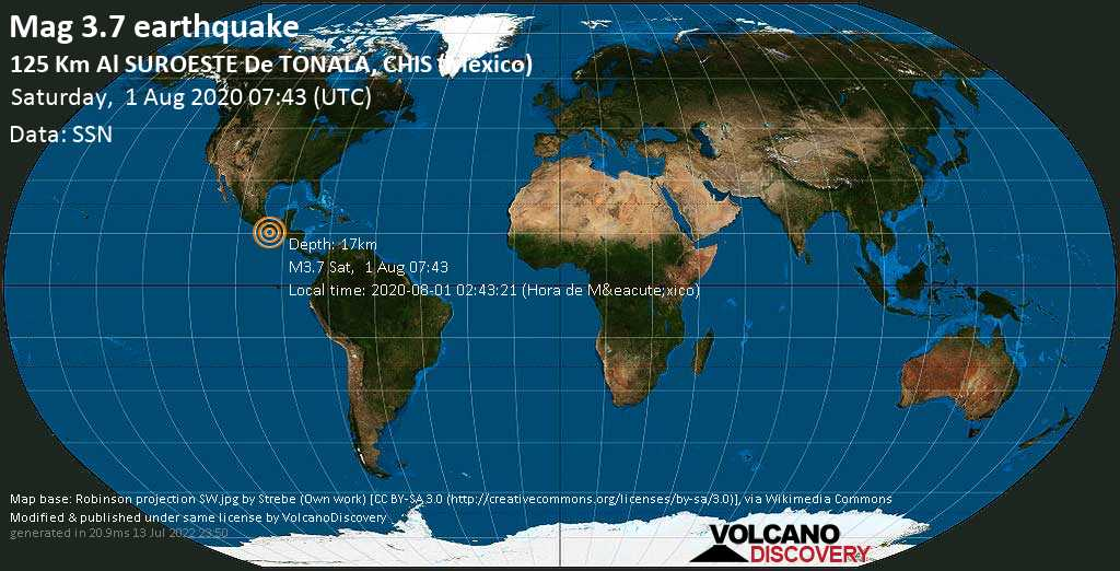 Minor mag. 3.7 earthquake  - 125 km al SUROESTE de  TONALA, CHIS (Mexico) on Saturday, 1 August 2020