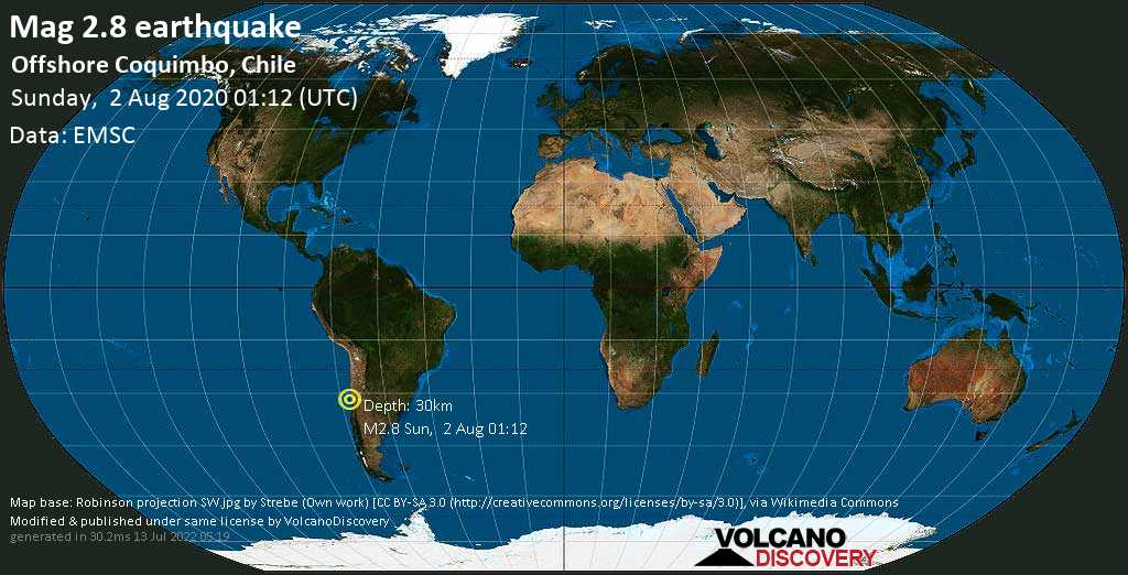 Minor mag. 2.8 earthquake  - Offshore Coquimbo, Chile on Sunday, 2 August 2020