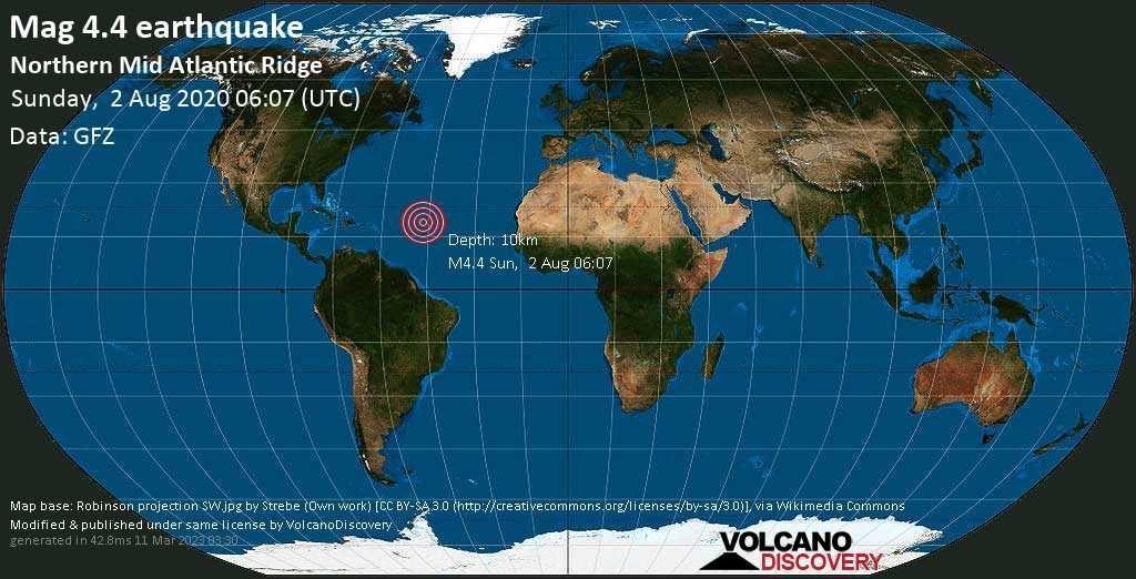 Light mag. 4.4 earthquake  - Northern Mid Atlantic Ridge on Sunday, 2 August 2020