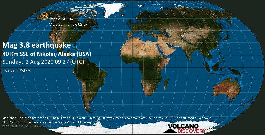 M 3.8 quake: 40 km SSE of Nikolai, Alaska (USA) on Sun, 2 Aug 09h27