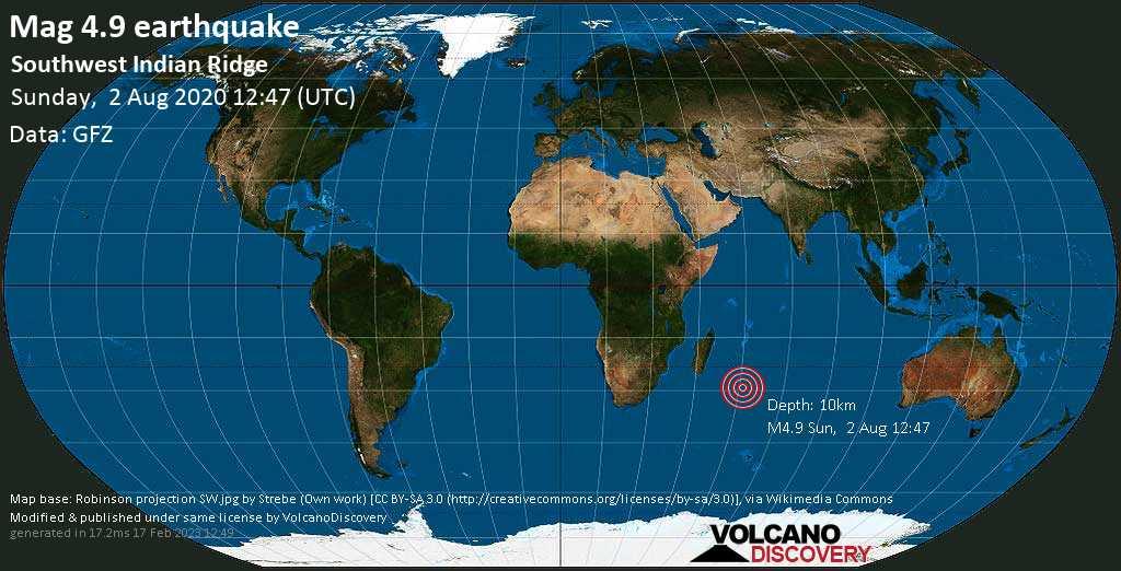 Light mag. 4.9 earthquake  - Southwest Indian Ridge on Sunday, 2 August 2020
