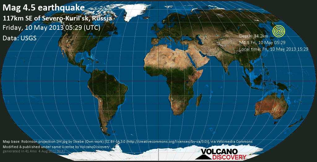 Light mag. 4.5 earthquake  - 117km SE of Severo-Kuril\'sk, Russia on Friday, 10 May 2013