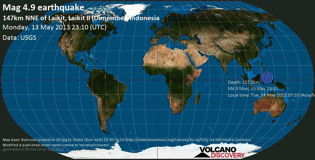 Light mag. 4.9 earthquake  - 147km NNE of Laikit, Laikit II (Dimembe), Indonesia on Monday, 13 May 2013