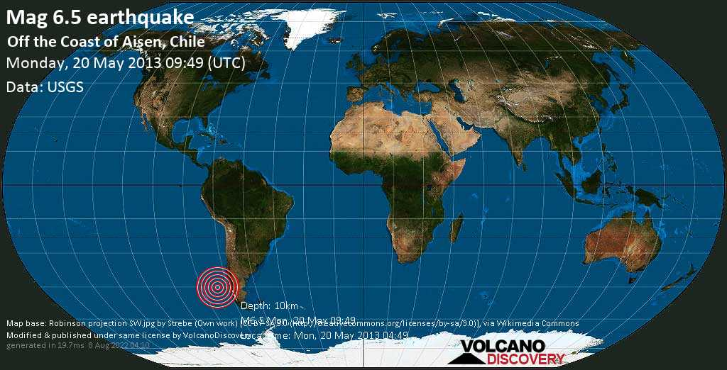 Strong mag. 6.5 earthquake  - Off the coast of Aisen, Chile on Monday, 20 May 2013