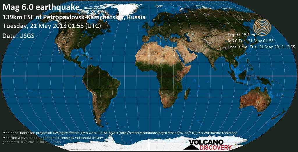 Strong mag. 6.0 earthquake  - 139km ESE of Petropavlovsk-Kamchatskiy, Russia on Tuesday, 21 May 2013