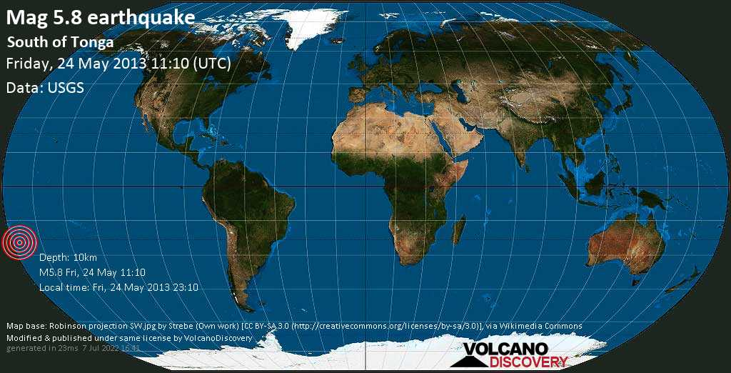 Moderate mag. 5.8 earthquake  - South of Tonga on Friday, 24 May 2013