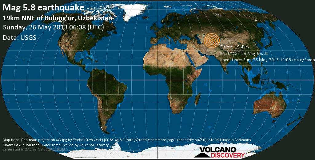 Moderate mag. 5.8 earthquake  - 19km NNE of Bulung\'ur, Uzbekistan on Sunday, 26 May 2013