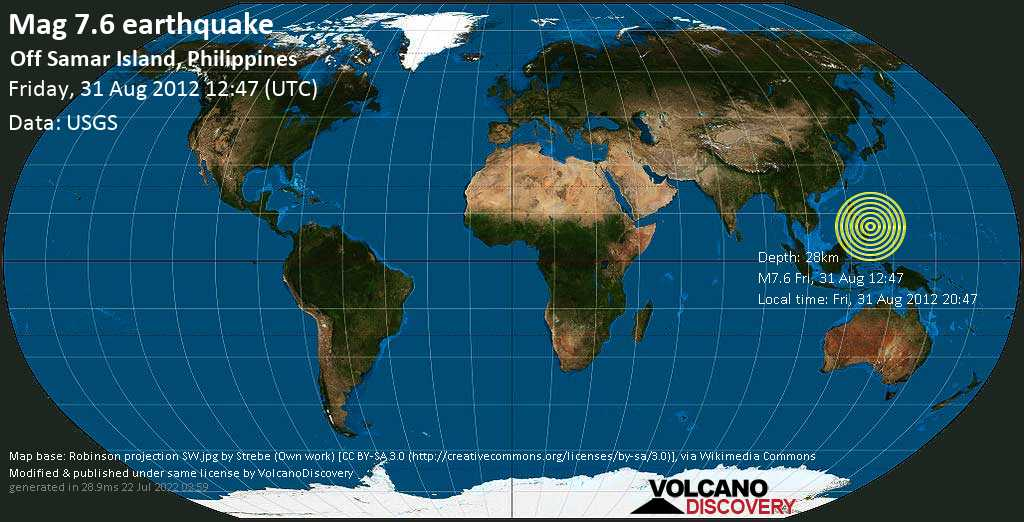 Major mag. 7.6 earthquake  - 96km E of Sulangan, Philippines on Friday, 31 August 2012