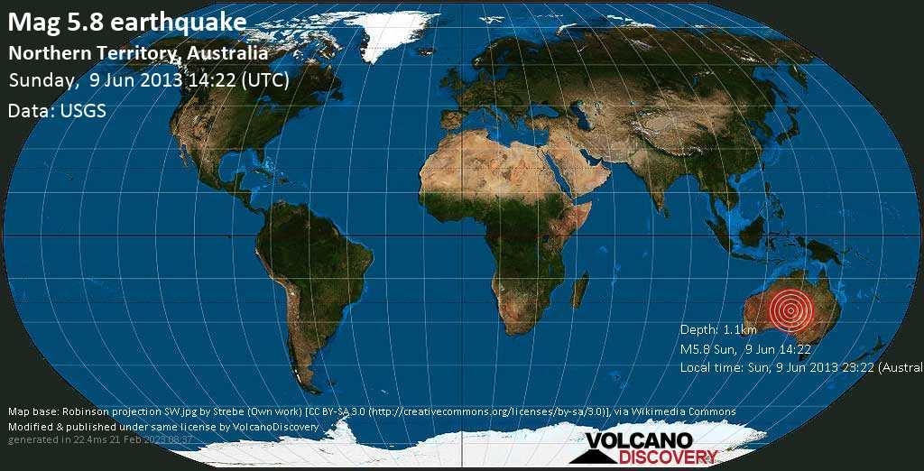 Moderate mag. 5.8 earthquake  - Northern Territory, Australia on Sunday, 9 June 2013