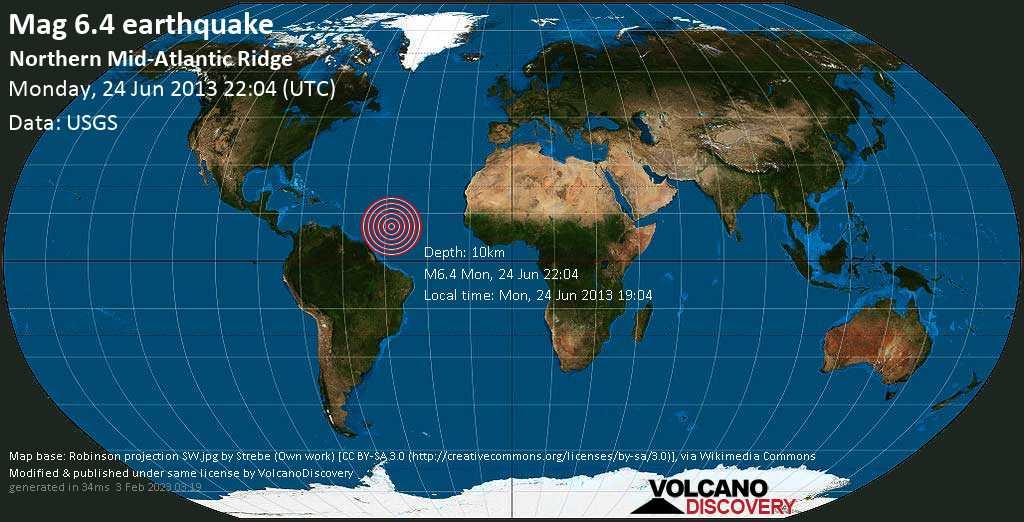 Strong mag. 6.4 earthquake  - Northern Mid-Atlantic Ridge on Monday, 24 June 2013