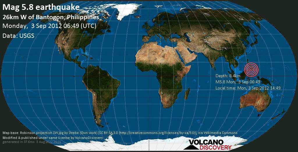 Moderate mag. 5.8 earthquake  - 26km W of Bantogon, Philippines on Monday, 3 September 2012