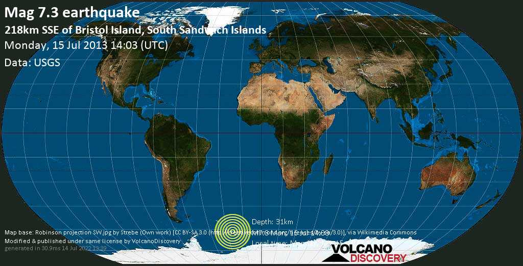 Major mag. 7.3 earthquake  - 218km SSE of Bristol Island, South Sandwich Islands on Monday, 15 July 2013